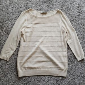 Cream Patterned 3/4 sleeve sweater